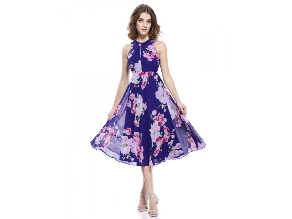 Ever Pretty luxusní letní šaty fialové s květy 5452