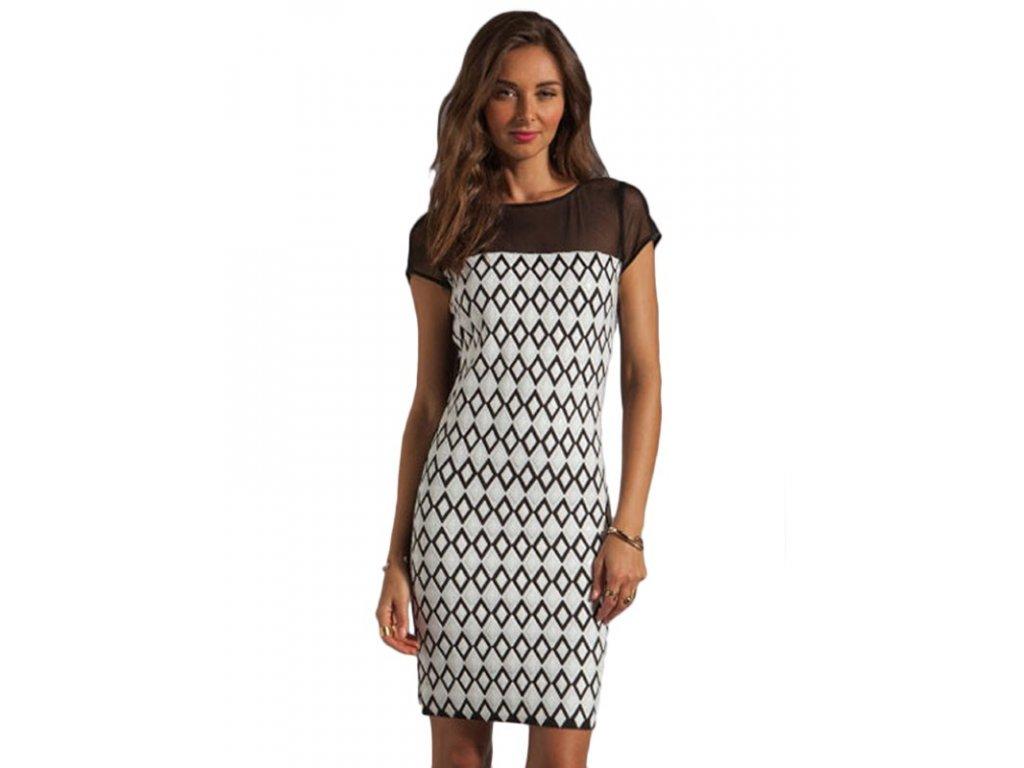 A Šaty letní krátké se vzory černo bílé 22037