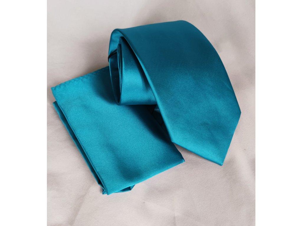 Tyrkysová kravata s kapesníčkem