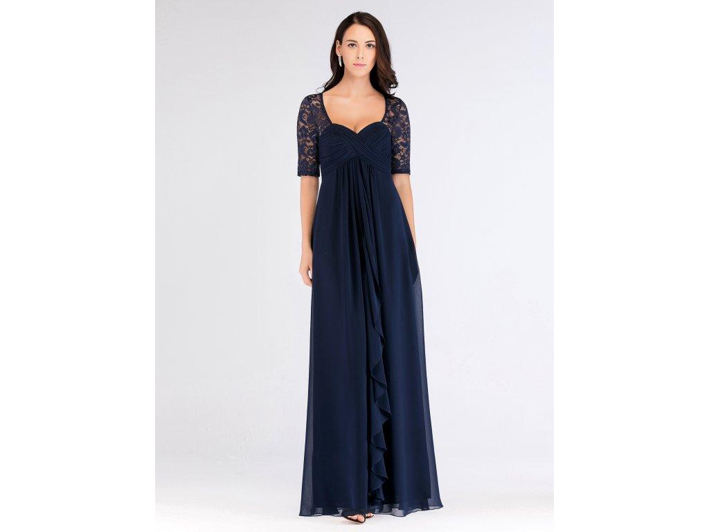 Dlouhé modré šaty s velkým výstřihem a krajkovým rukávem
