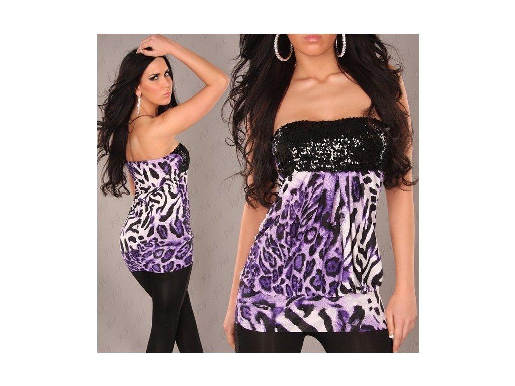 Minišaty nebo Top leopard fialová s flitry