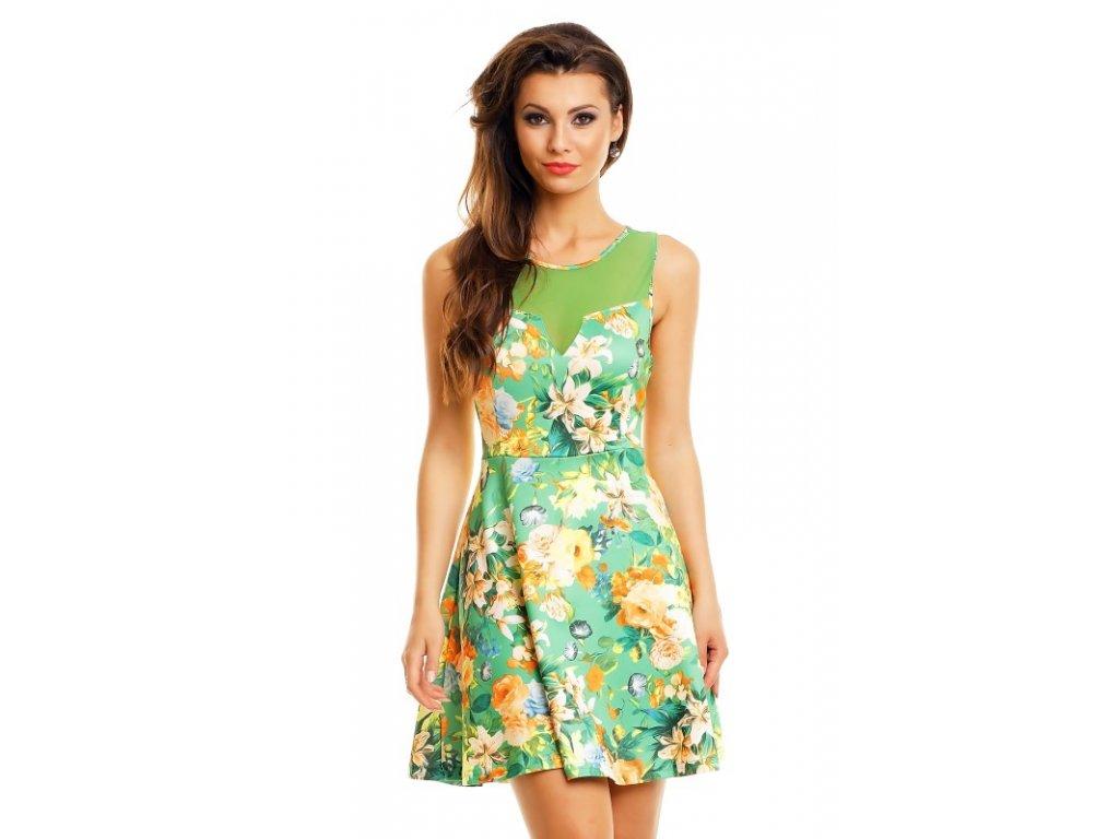 A Letní šaty zelené s květy HS628