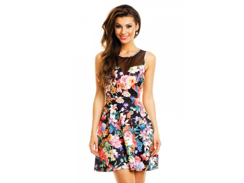 A Letní šaty černé s květy HS626