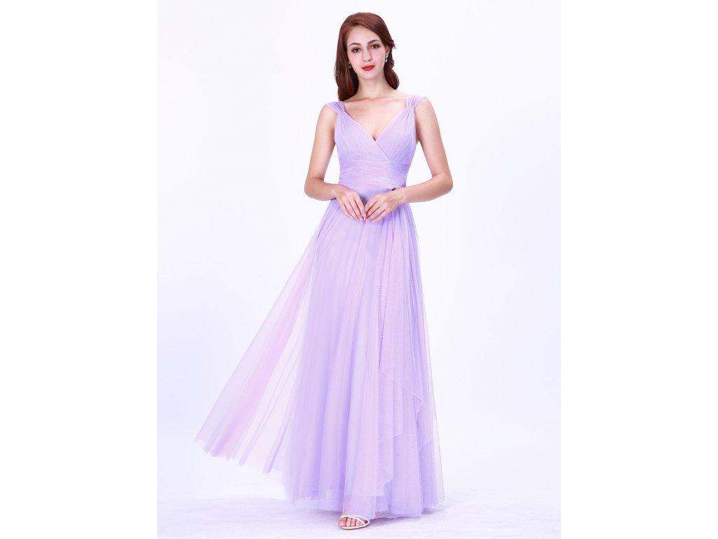 Dlouhé světle fialové levandulové šaty s tylem