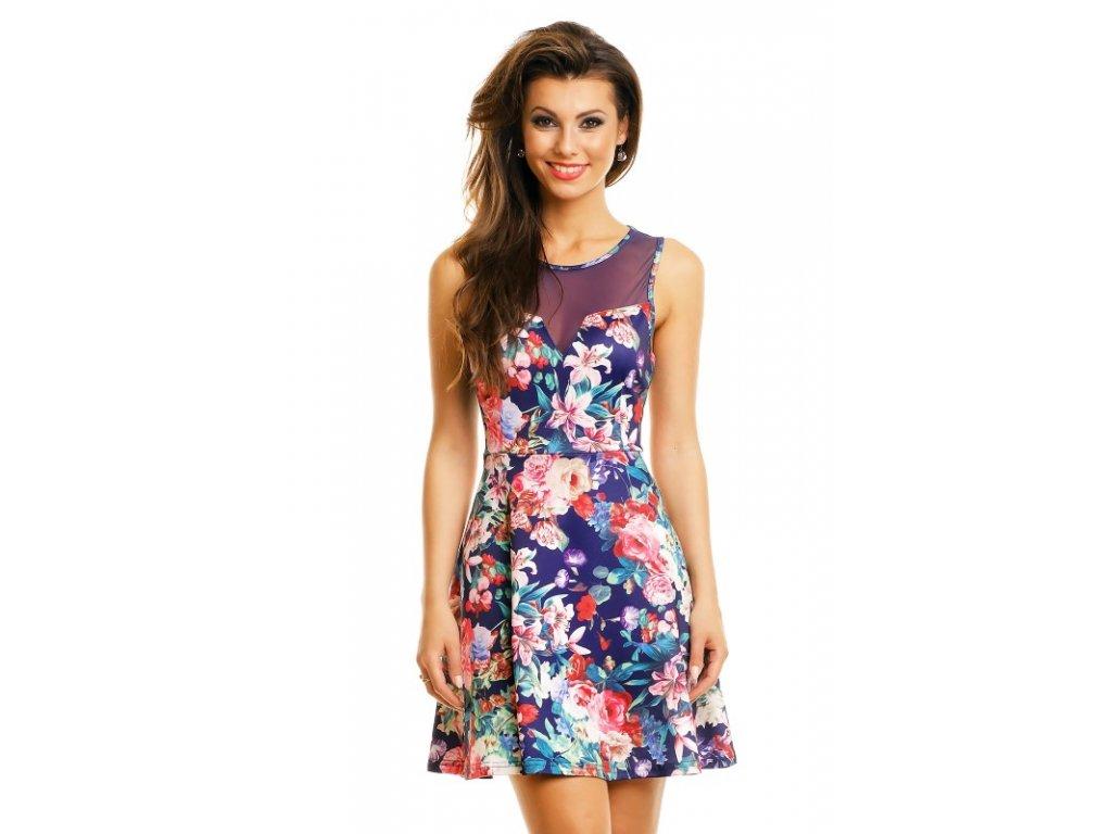 A Letní šaty modré s květy HS627