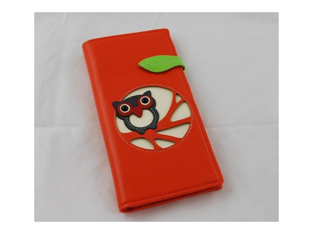 A Dámská peněženka oranžová se sovou