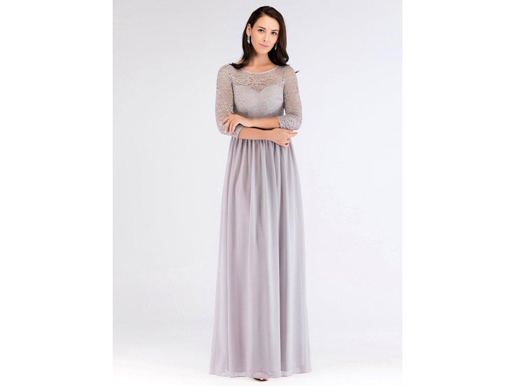 d72bf7371dc Luxusní šedé šaty s krajkou 7680 - trendy-obleceni.cz