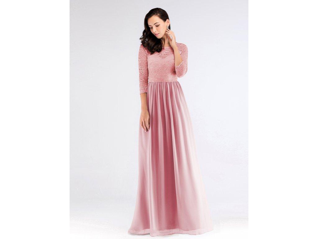 463a7cec606 Luxusní růžové šaty s krajkou 7680 - trendy-obleceni.cz
