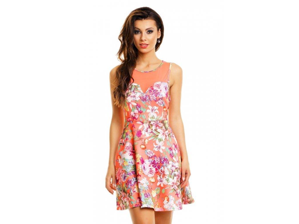 A Letní šaty oranžové s květy HS625