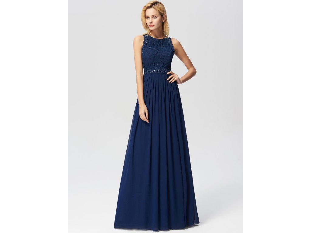 Dlouhé tmavě modré plesové šaty