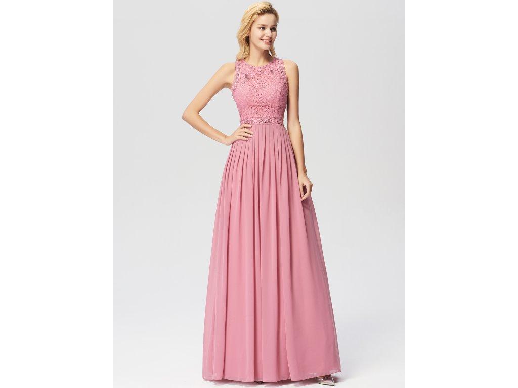 Dlouhé růžové šaty s krajkou