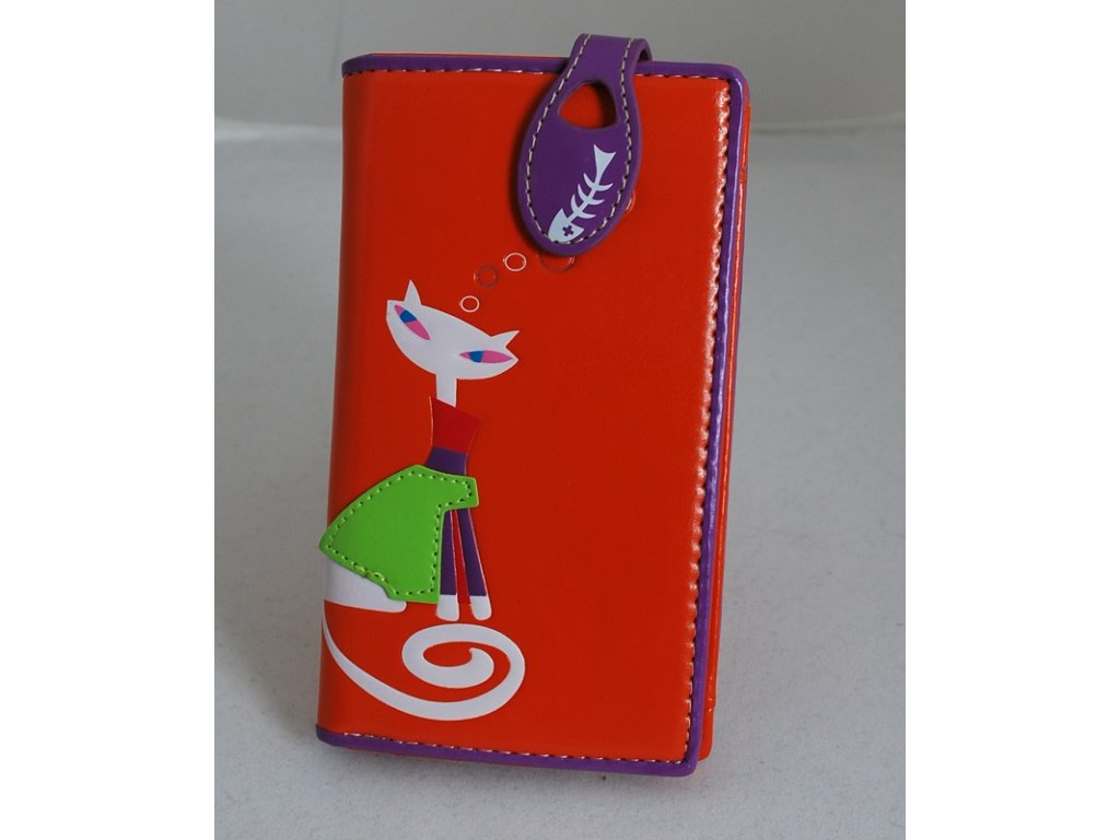 A Dámská peněženka oranžová s kočkou