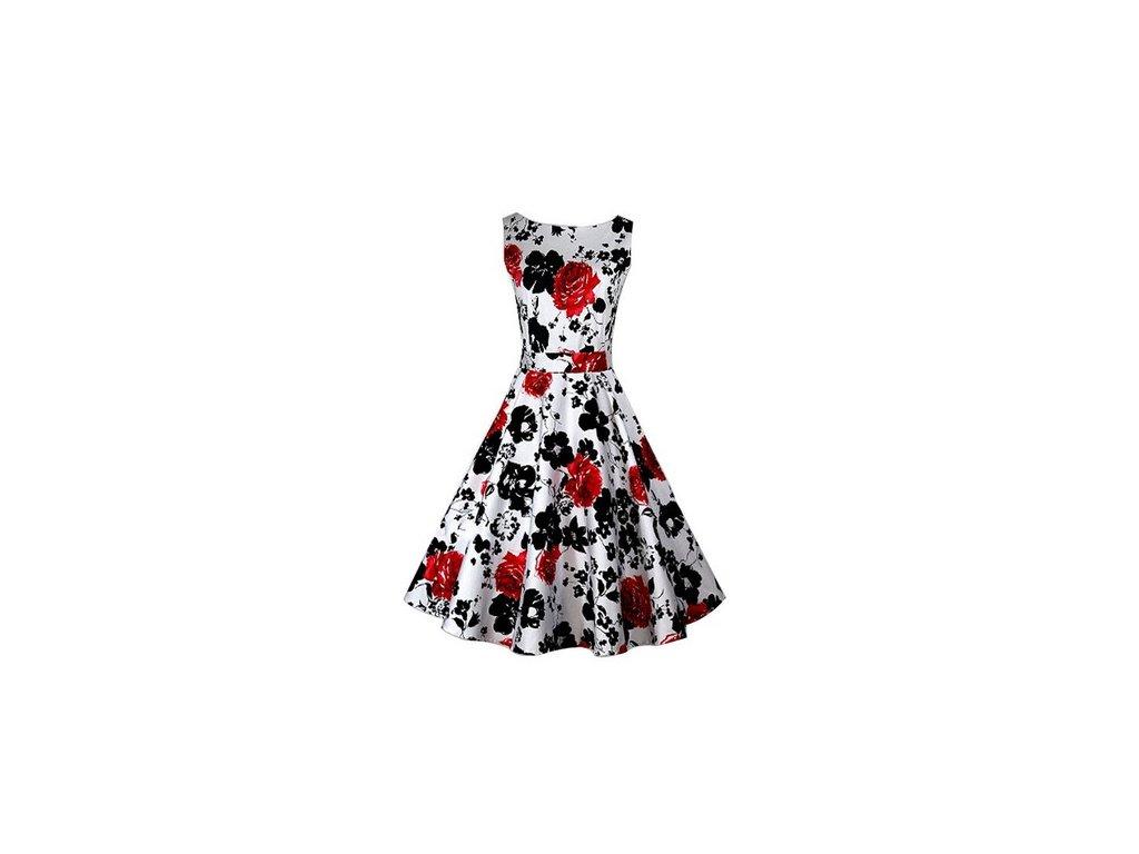 A Letní retro šaty s květy bílo černo červené