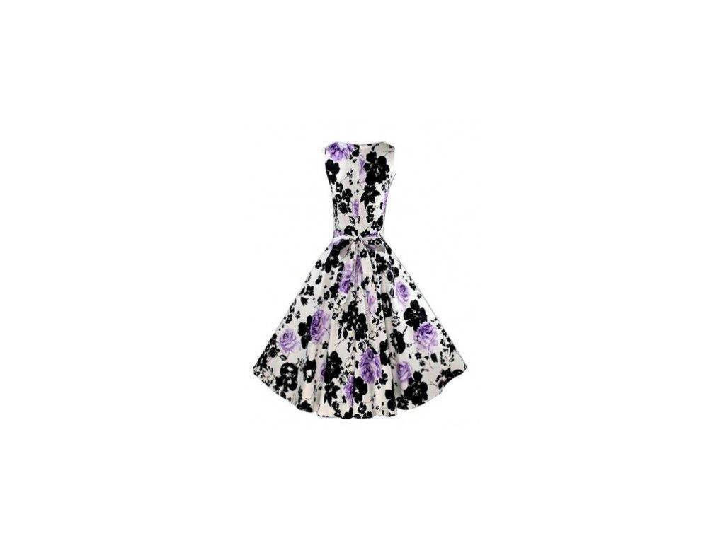 A Letní retro šaty s květy bílo černo fialové