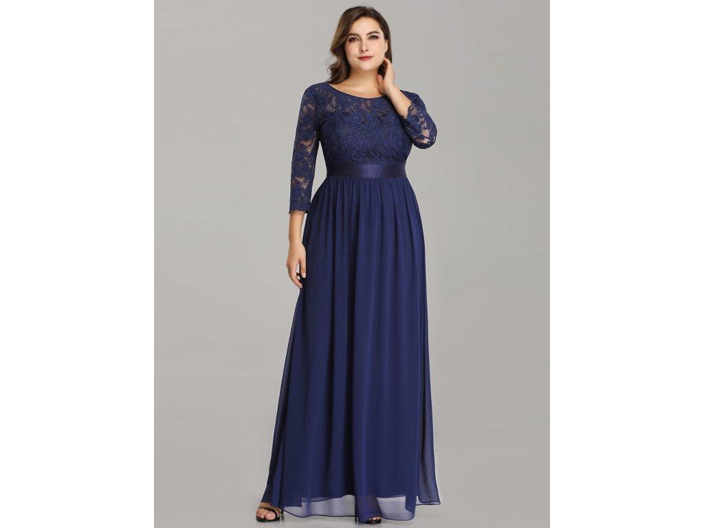 Dlouhé tmavě modré šaty s rukávem
