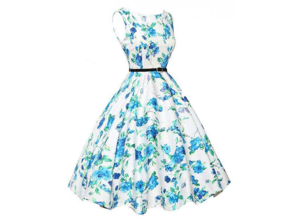 A Letní šaty s květy bílé a modré