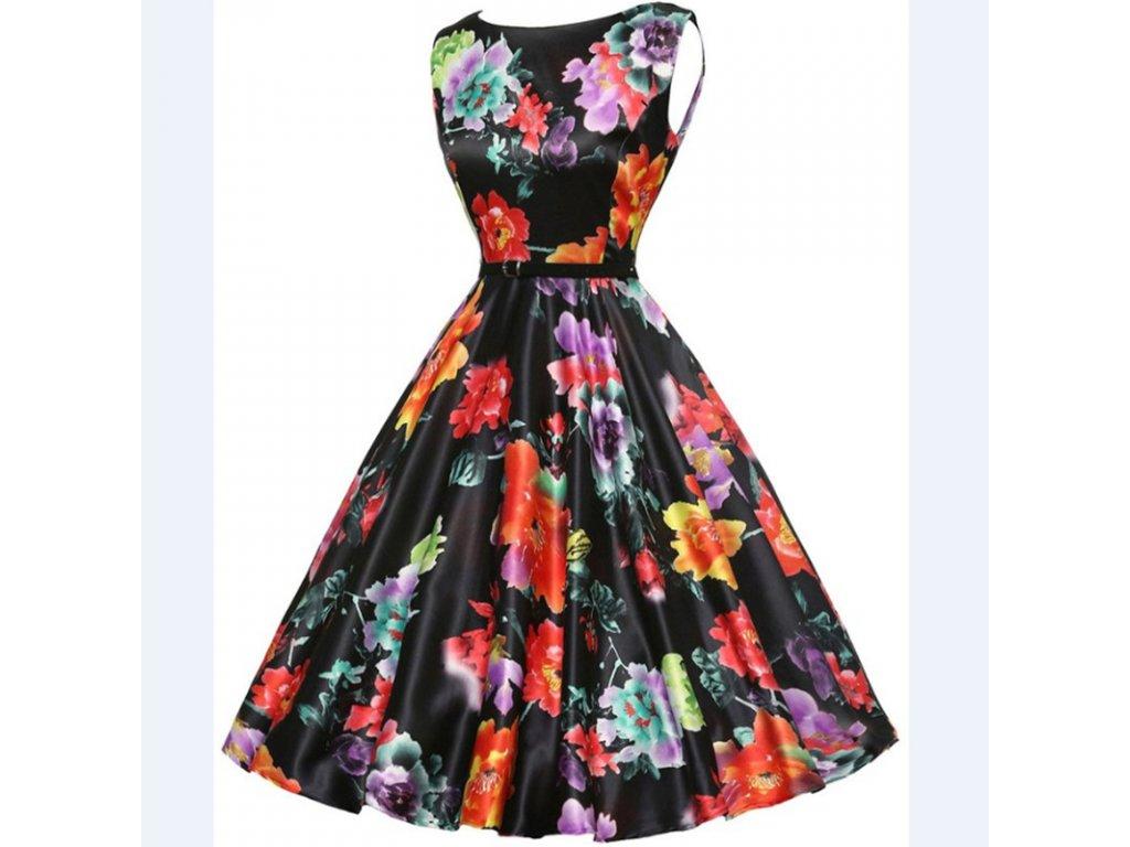 A Letní šaty s květy černé retro styl