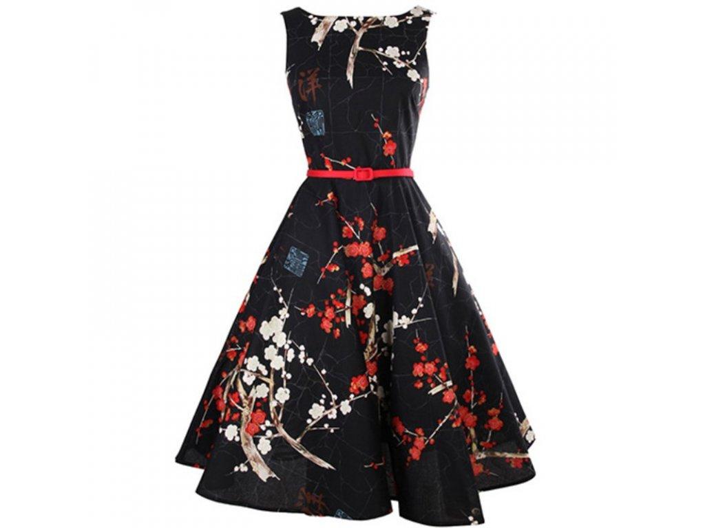 A Letní šaty s květy černé retro styl + pásek