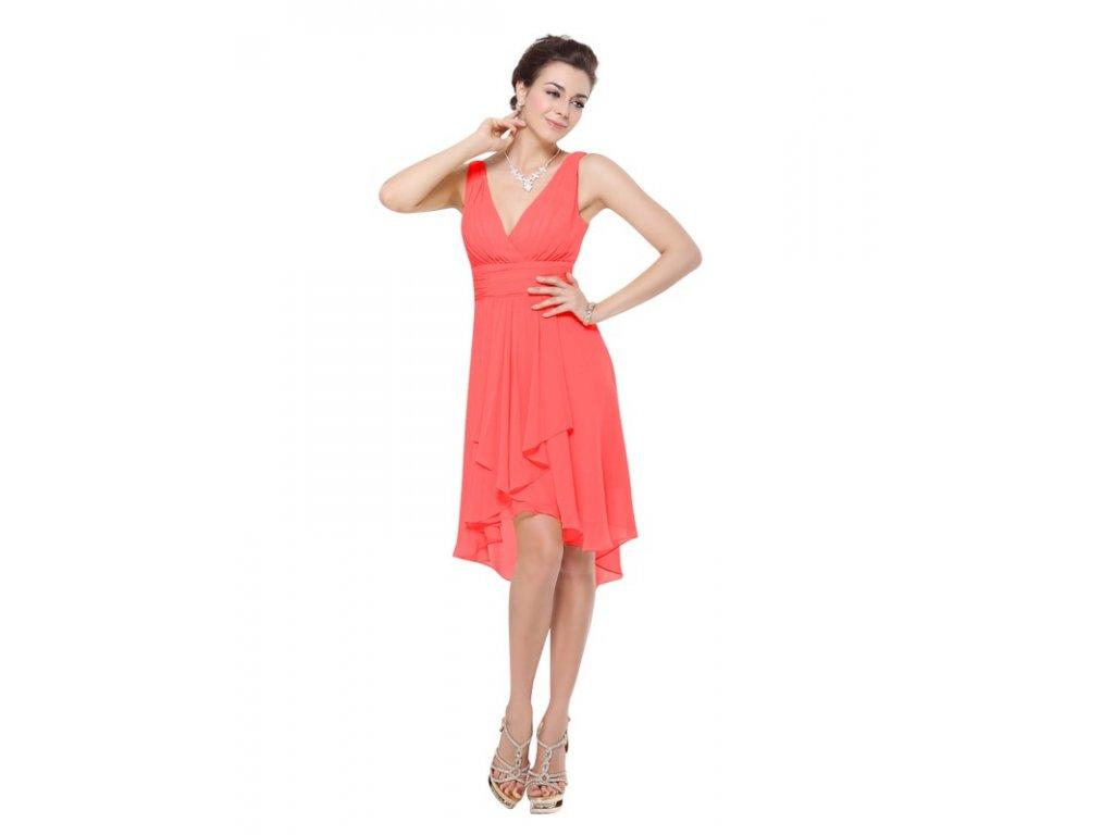 Ever Pretty šifonové šaty krátké meruňkové 3644