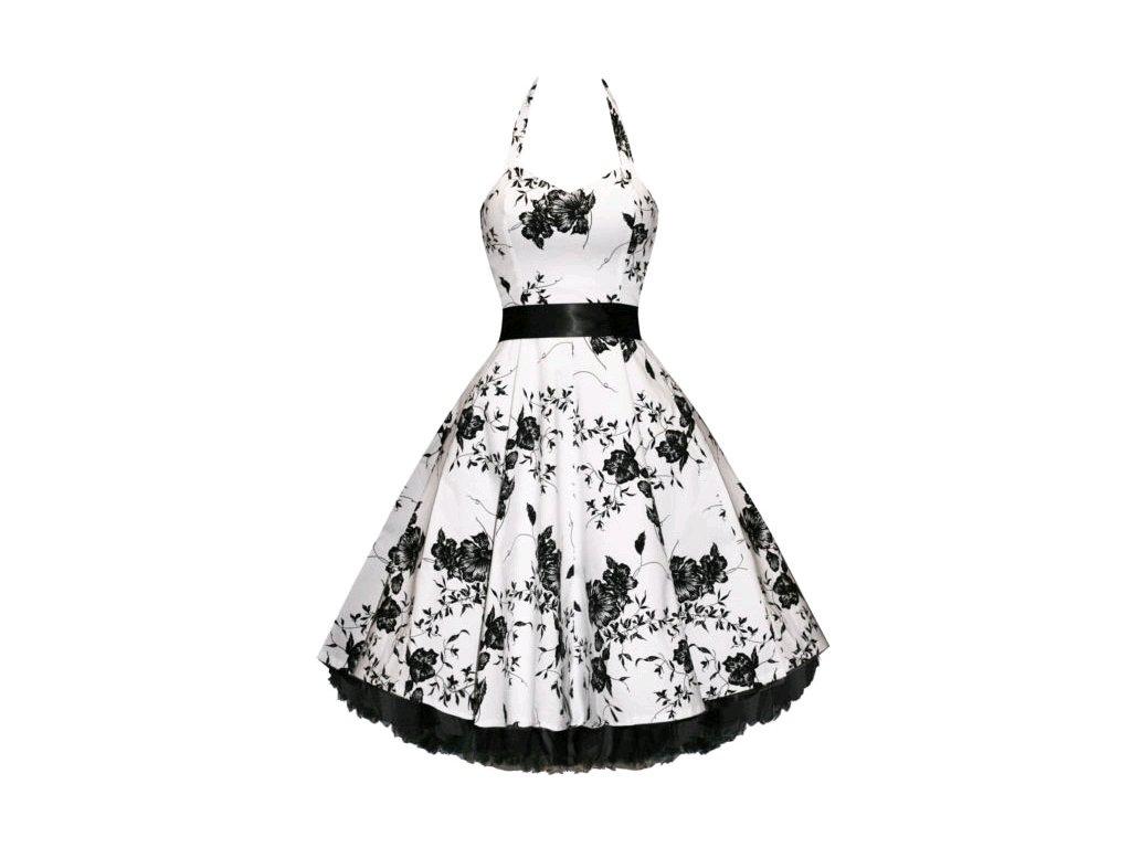 A Letní šaty s květy bílé retro styl květy