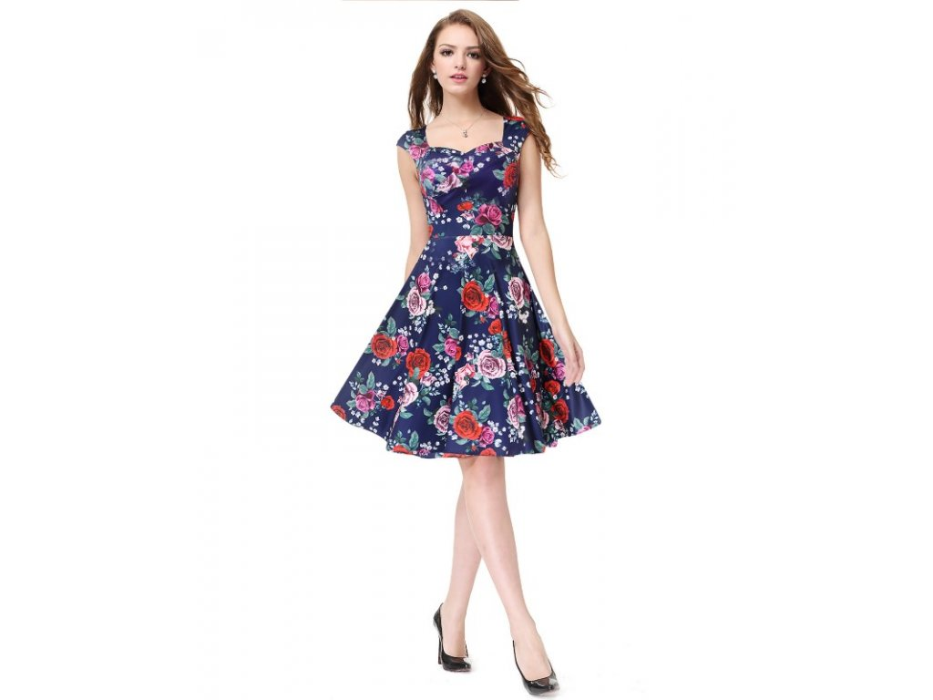 Ever Pretty luxusní letní šaty modré s květy 5483