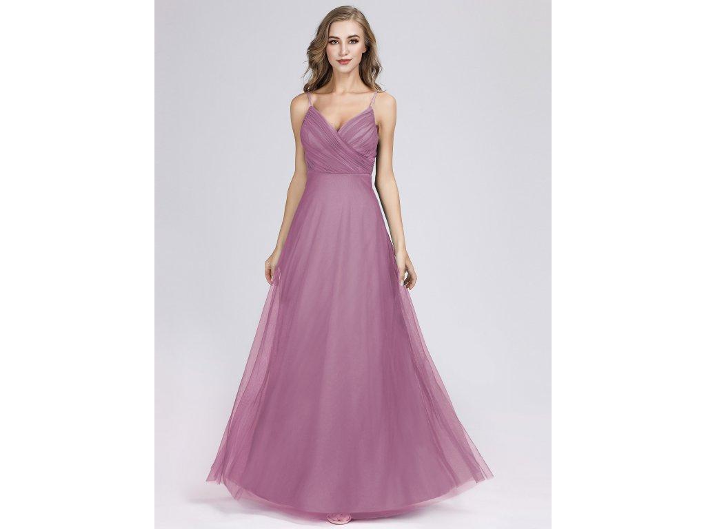 Růžové plesové šaty dlouho starorůžové