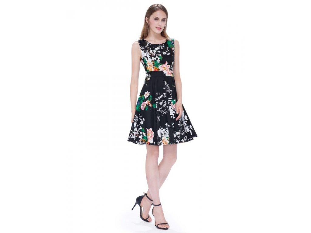 Ever Pretty luxusní letní šaty černé s květy 5511