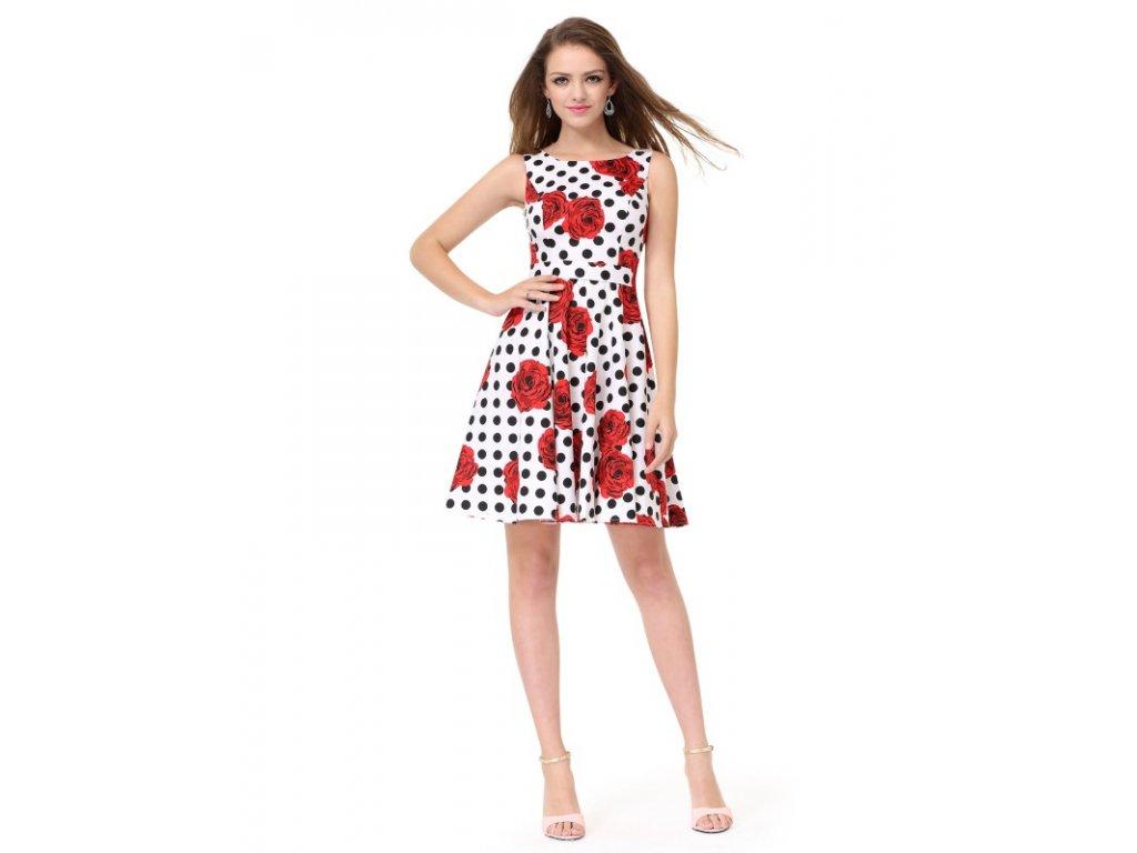 Ever Pretty letní šaty bílé puntíkaté květované 5488