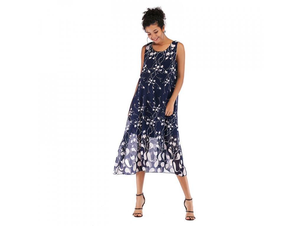 Sleeveless casual dresses women lady flower dress (1)