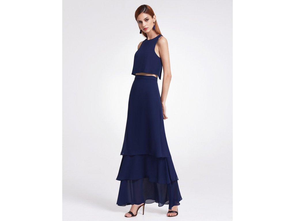 Dlouhé tmavě modré šaty s volánky