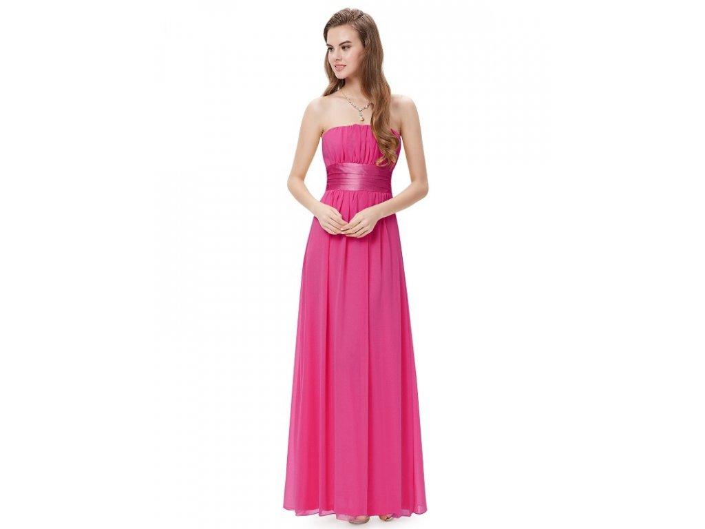 Jemné plesové šaty s mašlí magenta 9060 HP