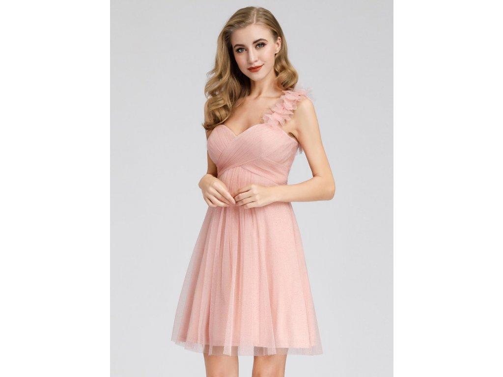 Krátké růžové tylové šaty
