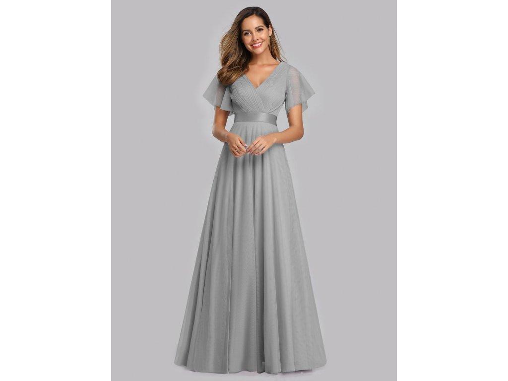 Dlouhé šedé šaty tylové