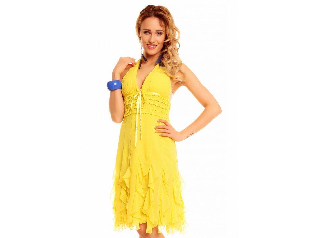 krásné letní žluté šaty s volánky