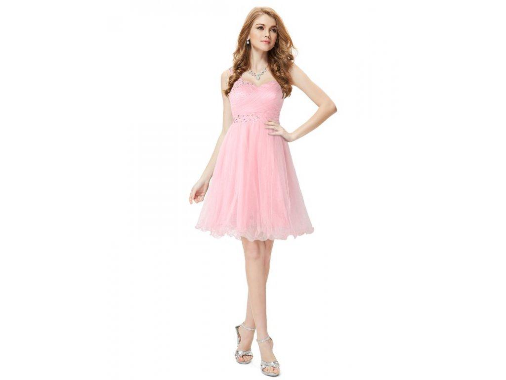 Ever Pretty letní šaty krátké jemně růžové 5032