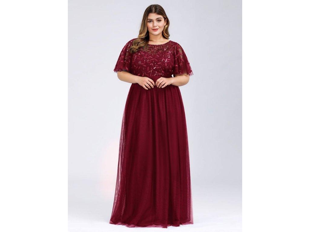 Dlouhé vínové šaty s výšivkou
