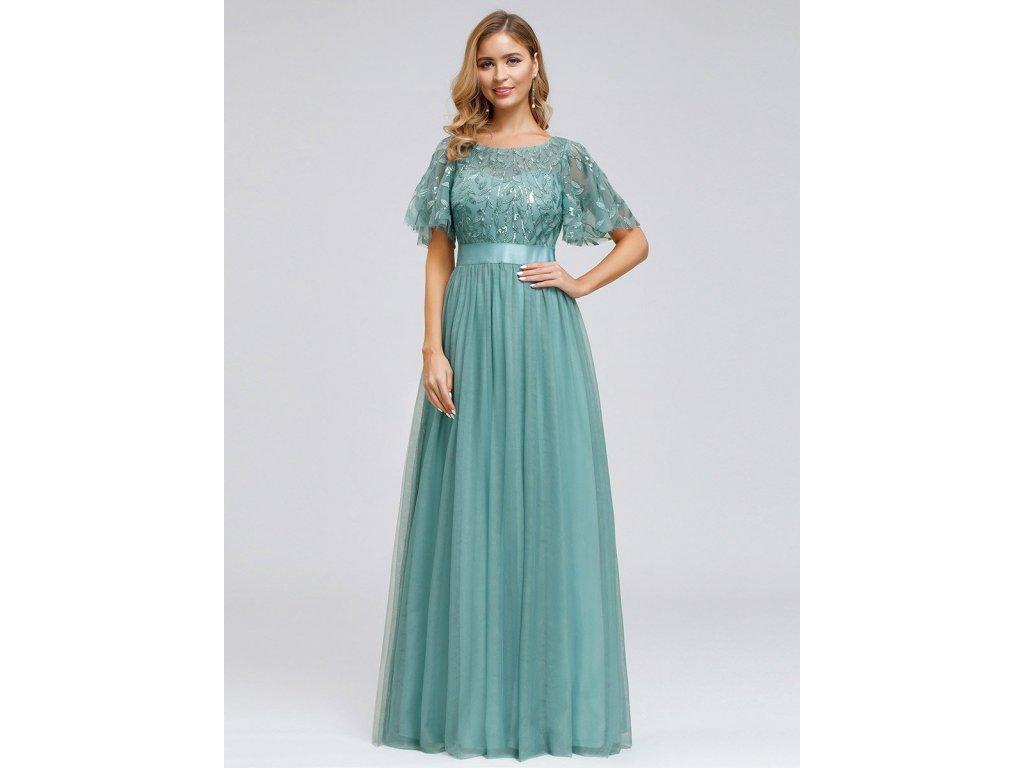 Dlouhé modro zelené šaty s tylem a rukávem