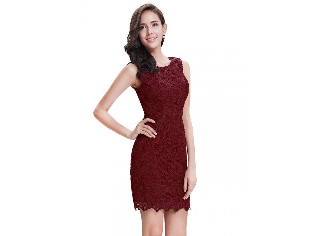 Krátké bordo pouzdrové šaty s krajkou