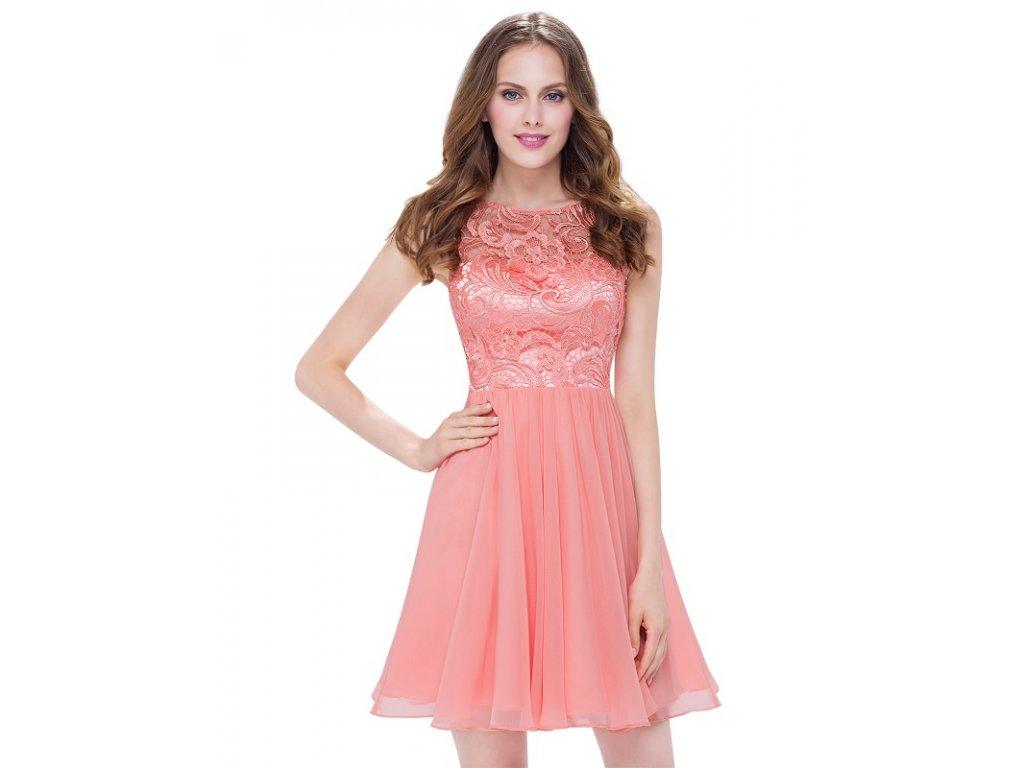 Ever Pretty šifonové šaty koktejlky meruňkové 5491