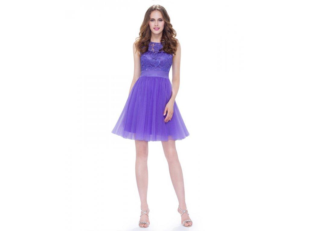 Ever Pretty šifonové šaty koktejlky fialové 5496