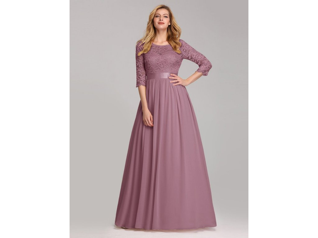 Dlouhé starorůžové šaty s krajkou a rukávem