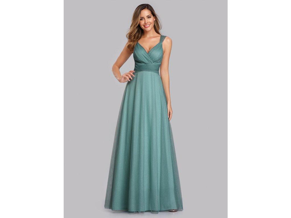 Dlouhé modro zelení šaty na široká ramínka
