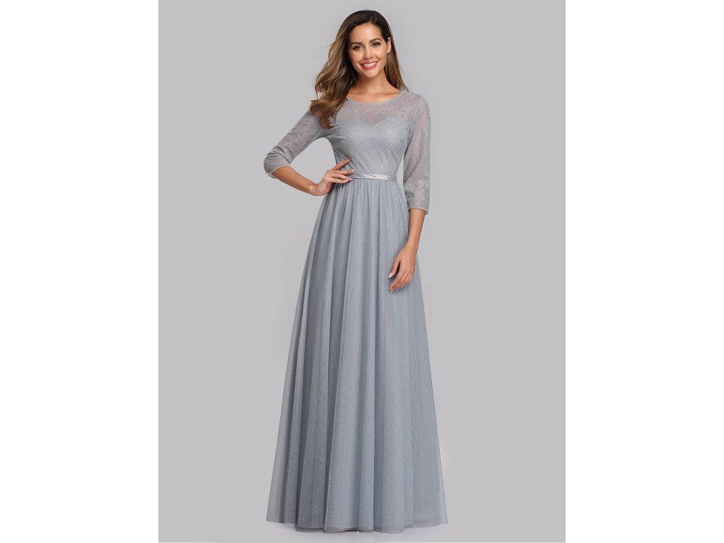 Jemné šedé společenské šaty, šaty pro družičku
