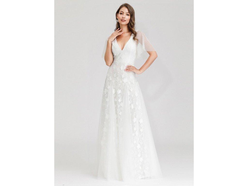 Dlouhé svatební šaty s rukávkem