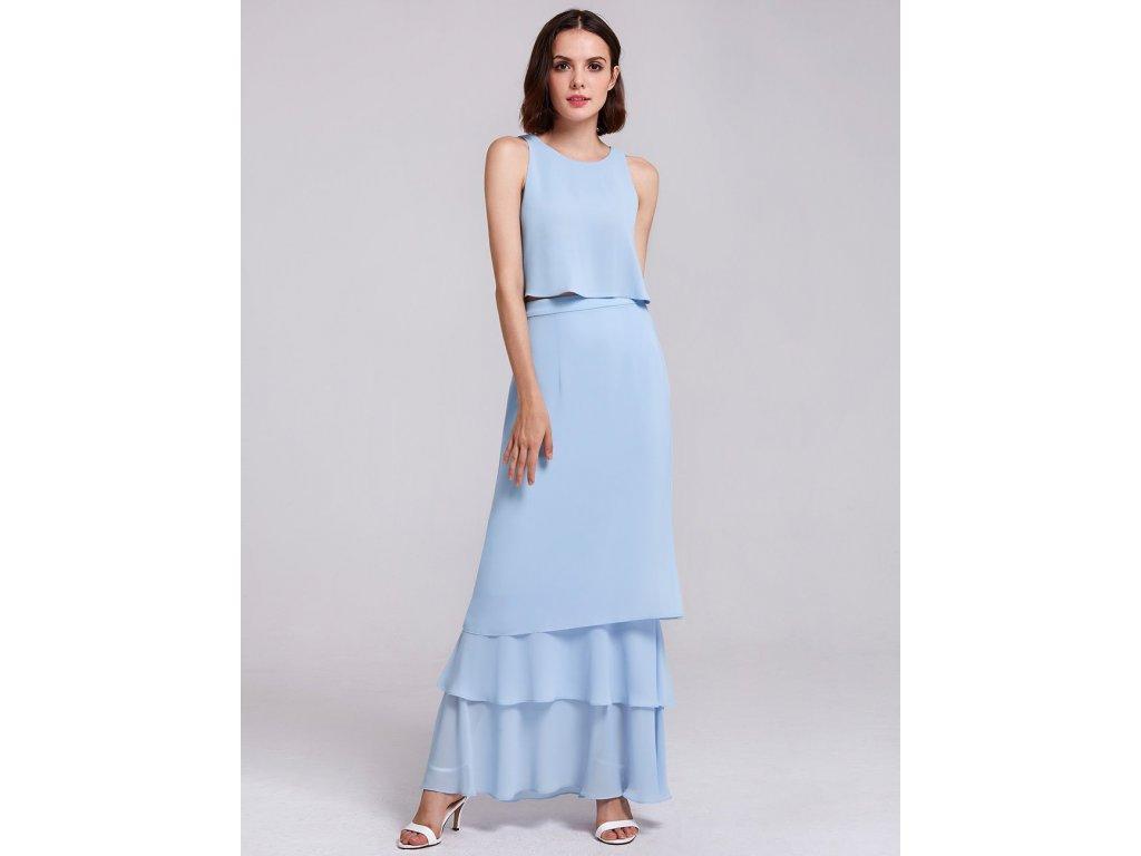 Dlouhé světle modré dvoudílné šaty