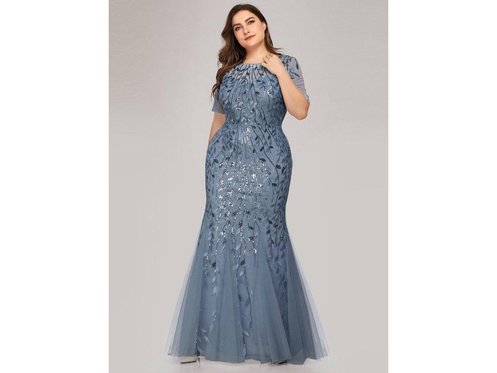 Dlouhé modro šedé šaty slim střihu