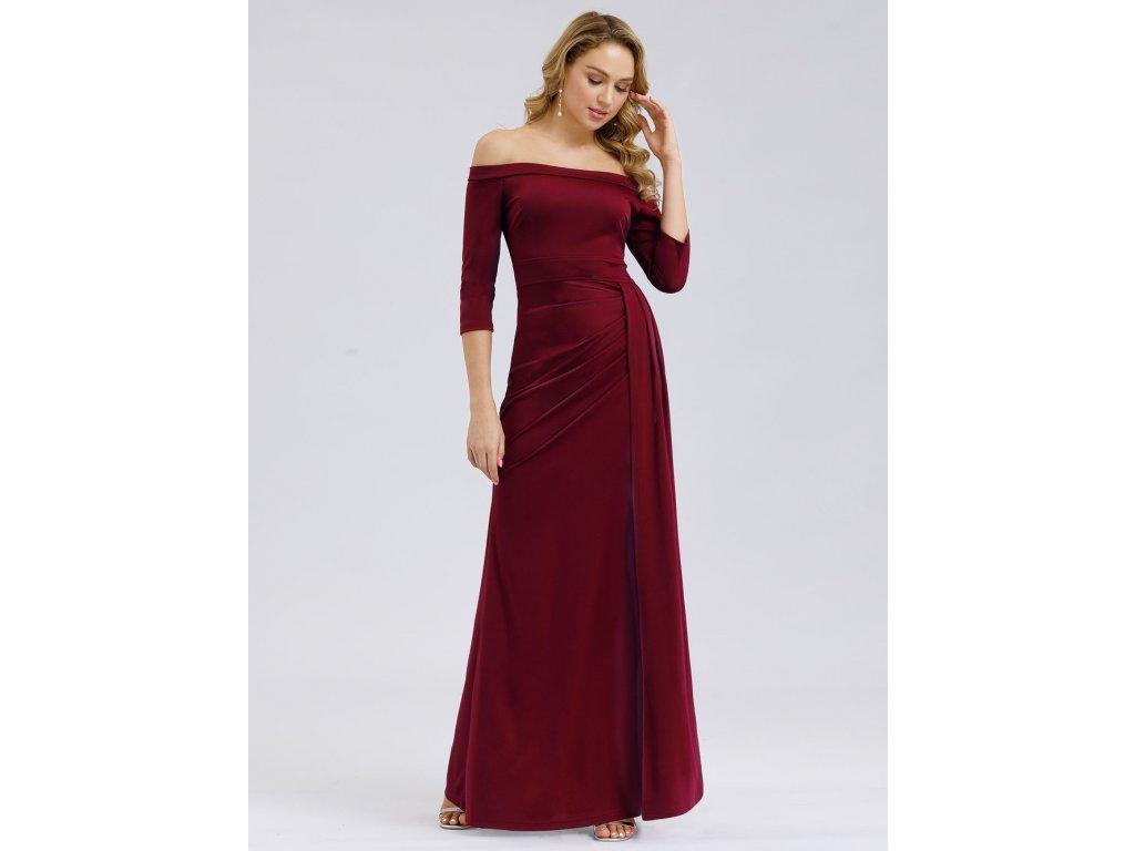 Bordo šaty s rukávem