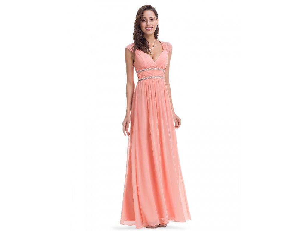Dlouhé meruňkové šaty s velkým výstřihem