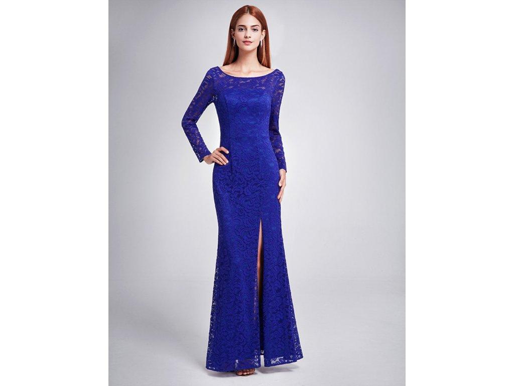 Dlouhé safírové modré šaty s rozparkem a dlouhým rukávem