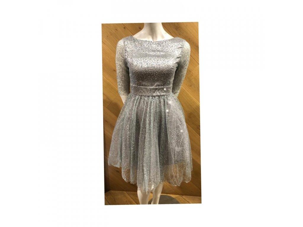 stříbrné krátké šaty lesklé